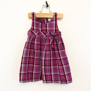 OshKosh Purple Pink Plaid Flannel Bow Tank Dress